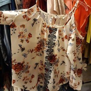 Fall Floral Flowy long sleeve shirt chiffon Lace